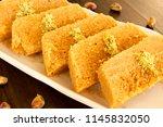 milk cake is a classic sweet... | Shutterstock . vector #1145832050