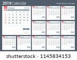 2019 calendar template  planner ... | Shutterstock .eps vector #1145834153