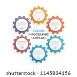 circle diagram with six gears ... | Shutterstock .eps vector #1145834156
