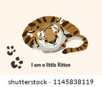 sleepy tiger. cute little tiger ... | Shutterstock .eps vector #1145838119