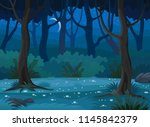 Night Forest Landscape Vector...