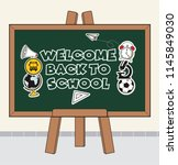 welcome back to school text... | Shutterstock .eps vector #1145849030