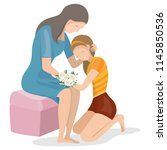 daughter sit on the floor and... | Shutterstock .eps vector #1145850536