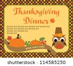 happy thanksgiving day card.... | Shutterstock .eps vector #114585250