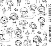 kids hand drawn seamless... | Shutterstock .eps vector #1145855870