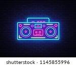 tape recorder neon signboard... | Shutterstock .eps vector #1145855996