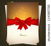 greeting card with red bow and... | Shutterstock .eps vector #114585700
