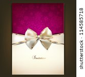 greeting card with white bow... | Shutterstock .eps vector #114585718