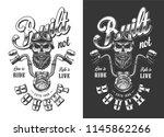 biker emblem with skull in... | Shutterstock .eps vector #1145862266