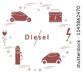 ban on diesel engines.... | Shutterstock .eps vector #1145862470