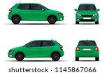 realistic car. hatchback. front ... | Shutterstock .eps vector #1145867066