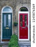 typical colorful doors on the... | Shutterstock . vector #1145876369