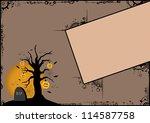 halloween poster  pumpkin tree... | Shutterstock . vector #114587758
