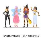 halloween adult costumes set....   Shutterstock .eps vector #1145881919