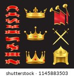ribbon and crowns swords icons... | Shutterstock .eps vector #1145883503