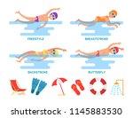 breaststroke and backstroke ... | Shutterstock .eps vector #1145883530