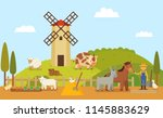 rural farm or authentic ranch...   Shutterstock .eps vector #1145883629