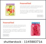 preserved food posters set with ... | Shutterstock .eps vector #1145883716