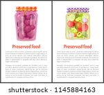 preserved food meal conserved... | Shutterstock .eps vector #1145884163