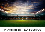 lights at night and stadium 3d... | Shutterstock . vector #1145885003