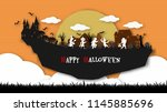 a group of kids are running...   Shutterstock .eps vector #1145885696