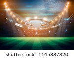lights at night and football... | Shutterstock . vector #1145887820