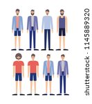 group of men retro styles... | Shutterstock .eps vector #1145889320