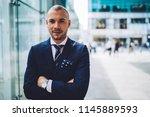 portrait of confident... | Shutterstock . vector #1145889593