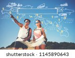 two backpackers enjoying... | Shutterstock . vector #1145890643