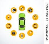 concept of car service. set of... | Shutterstock .eps vector #1145891423
