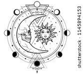 mystical drawing  sun and  moon ... | Shutterstock .eps vector #1145894153
