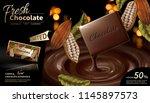 premium chocolate ads in 3d... | Shutterstock .eps vector #1145897573