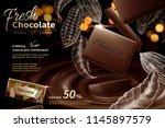 premium chocolate ads in 3d... | Shutterstock .eps vector #1145897579