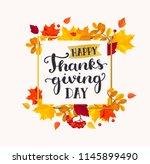 happy thanksgiving day banner...   Shutterstock . vector #1145899490