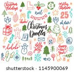 hand drawn christmas decorative ... | Shutterstock .eps vector #1145900069