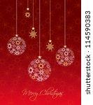 christmas balls made from... | Shutterstock .eps vector #114590383