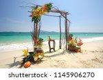 details wedding arch  decorated ... | Shutterstock . vector #1145906270