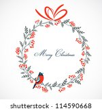 christmas wreath with birds and ...