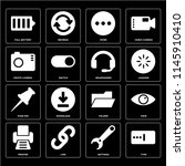 set of 16 icons such as type ...