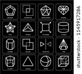 set of 16 icons such as cube ...