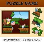 pigs in the garden with puzzle... | Shutterstock .eps vector #1145917643