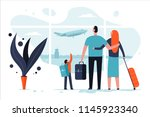 family in the airport terminal... | Shutterstock .eps vector #1145923340