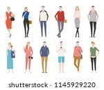 people in various styles of... | Shutterstock .eps vector #1145929220