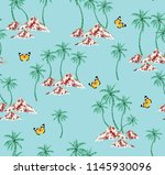 coconut trees with butterfly... | Shutterstock .eps vector #1145930096