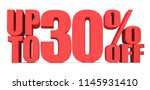 30 percent off 3d sign on white ... | Shutterstock . vector #1145931410