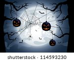 scary halloween night... | Shutterstock . vector #114593230