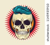 color angry skull with hairstyle | Shutterstock .eps vector #1145935910