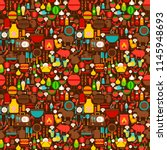 bbq grill seamless pattern.... | Shutterstock .eps vector #1145948693