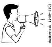 man talking with megaphone sound | Shutterstock .eps vector #1145949806