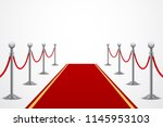 red carpet with fence ... | Shutterstock .eps vector #1145953103